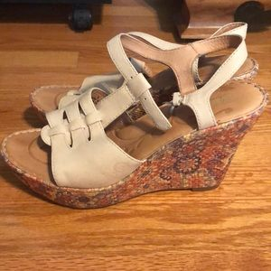 Born wedges with floral heel design